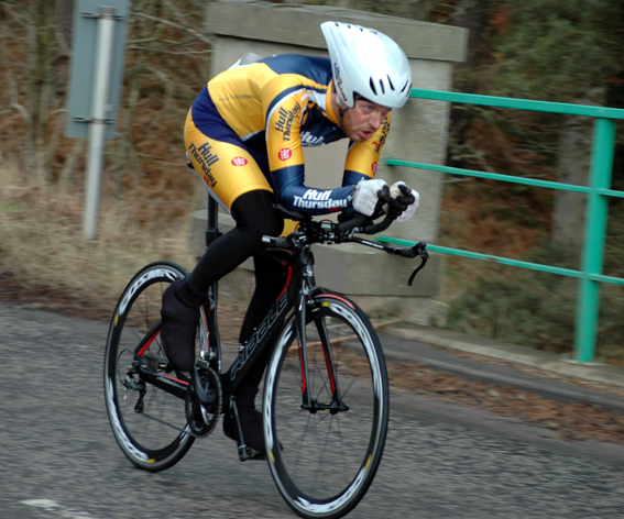 Jim Trevor in the Fife Cycling Association Mid-week Open Time Trial Series Event 9 '25' - 5th June 2013