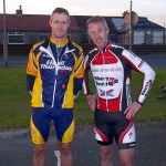 Jim Trevor (HTRC) and reigning champion Rab Carson (Team Leslie Bike Shop)