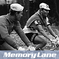 Billy Holmes (left) riding with Tom Simpson in the sixties