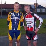Jim Trevor (HTRC) and reigning champion Rab Carson (Team Leslie Bike Shop)